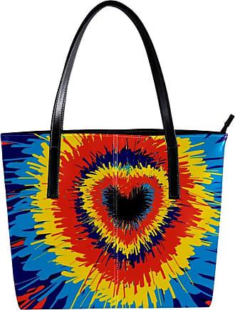 Nananma Womens Bag Shoulder Tote handbag with Heart Tie Dye Pattern Print Zipper Purse PU Leather Top-handle Zip Bags