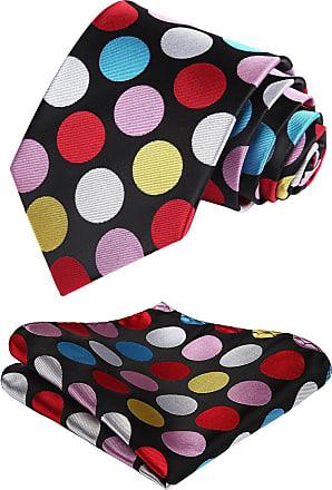 Hisdern Dot Floral Wedding Tie Handkerchief Mens Necktie & Pocket Square Set (Red & Blue & Pink)
