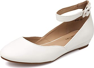 Dream Pairs Womens Revona White Pu Low Wedge Ankle Strap Flats Shoes Size 8.5 US/ 6.5 UK