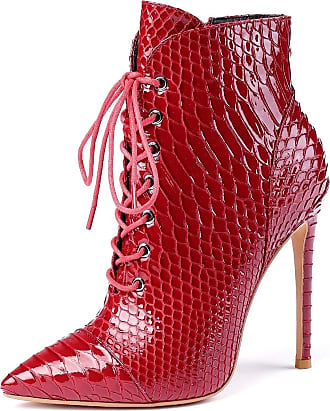 EDEFS Womens Ponited Toe Ankle Boots Lace Up Short Boots Animal Print Autumn Winter Shoes Red EU41