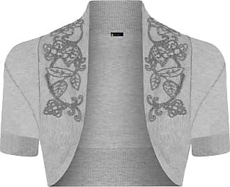 Momo & Ayat Fashions Momo Fashions-Ladies Short Sleeve Beaded Shrug Bolero Sizes 8-14 Grey