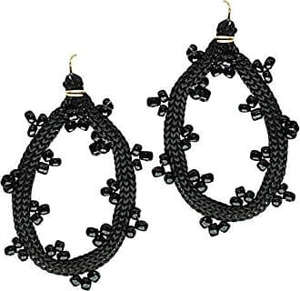 Tinna Jewelry Brinco Dourado Zig Zag Grande (Preto)