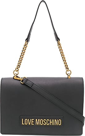 Love Moschino logo-plaque shoulder bag - Preto