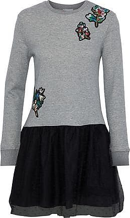 Red Valentino Redvalentino Woman Appliquéd French Cotton-blend Terry And Point Desprit Mini Dress Gray Size XS