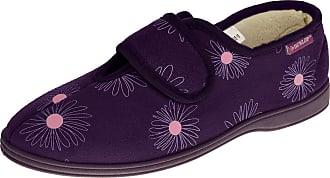 Footwear Studio Dunlop Womens Faux Suede Hook and Loop Slippers Ladies Fleece Lined House Slipper Purple UK 7