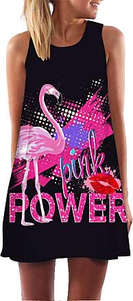 Ocean Plus Womens Sleeveless Vintage Boho Beach Dress Sundress Tank Tops Beach Dress Round Neck Short A Line Shirt Dress Blouse Dress (XXL (UK 14-16), Pink Power