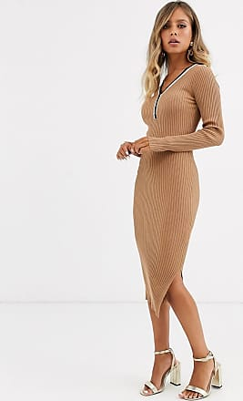 Morgan Gebreide trui-jurk met contrasterende strepen in bruin-Lichtbruin