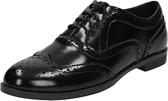 Spot On Ladies Spot On Casual Brogue Style Shoes - Black Patent - Size 7 UK / 40 EU