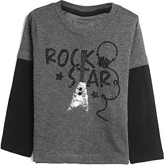 Tip Top Camiseta Tip Top Infantil Banda De Rock Cinza/Preto