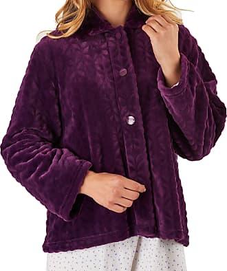 Slenderella Ladies 24/61cm Purple 300GSM Soft Thick Velvet Fleece Faux Fur Collared Button Up Bed Jacket Medium UK 12/14