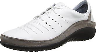 Naot Naot Womens Kumara Flat, White Leather/Silver Threads Leather, 35 EU/4.5-5 M US