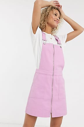 Urban Bliss overdyed pink denim dungaree dress in pink