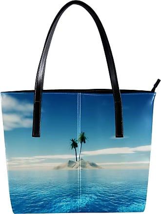 Nananma Womens Bag Shoulder Tote handbag with 3D Beach Print Zipper Purse PU Leather Top-handle Zip Bags