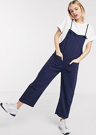 Monki Mona - Salopette di jeans in cotone organico blu navy