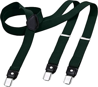 DonDon Mens Fashion Braces Suspenders 2,5 cm 1,0 Wide with 3 Clips in Y-Form Elasticated and Adjustable Length in - Green