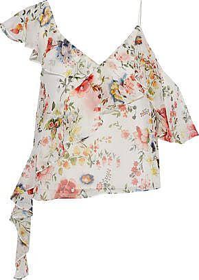 Alice & Olivia Alice + Olivia Woman Paulina Cutout Ruffle-trimmed Floral-print Chiffon Top Off-white Size M