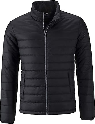 James & Nicholson Mens Light, Padded Quilted Jacket (3XL, Black)