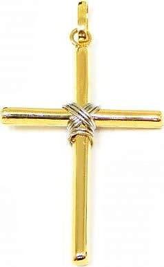 Prado Joias Pingente Em Ouro Amarelo E Branco 18k Cruz Palito