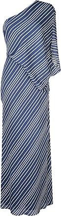 Halston Heritage Vestido listrado um ombro só - Azul