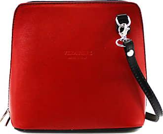 Your Dezire Ladies Genuine Italian Leather Small Cross Body Messenger Bag Women Shoulder Over Bags Handbags,Vera Pelle (Red-Black)