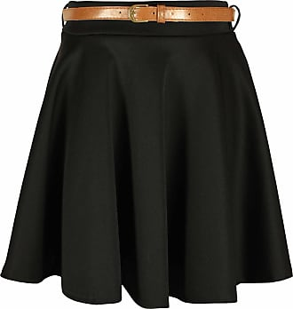 Purple Hanger Womens New Plain Formal Skater Flared Ladies Detachable Belted Frankie Mini Short Stretch Work Party Skirt Black Size 12-14