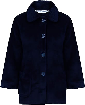 Slenderella Ladies 3/4 Sleeve XXX Large Soft Navy Blue Soft Coral Fleece Button Up Bed Jacket Coat Size 28 30