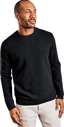 WoolOvers Mens Lambswool Crew Neck Jumper Black, XXL