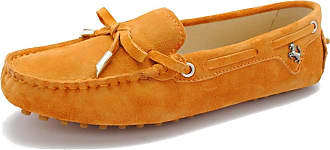 MGM-Joymod Ladies Womens Casual Slip-on Knot Orange Suede Leather Walking Driving Loafers Flats Moccasins Hiking Shoes 6.5 M UK