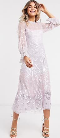 Needle & Thread embellished midaxi dress with fluted sleeve in lilac-Purple