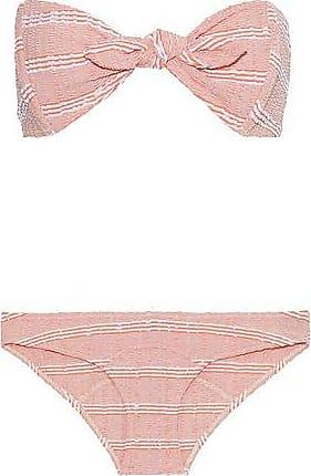 1197962d2975d Lisa Marie Fernandez Lisa Marie Fernandez Woman Poppy Knotted Striped  Seersucker Bandeau Bikini Pastel Orange Size
