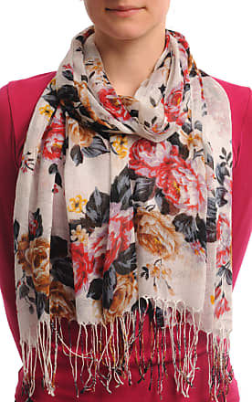 Liss Kiss Mocha, Red & Purple Roses On White With Tassels - Multicoloured Designer Scarf