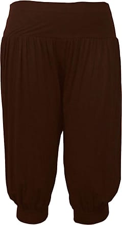 ZEE FASHION New Ladies Plus Size Ali Baba Baggy Stretch Fit Shorts Womens Plain Cropped Harem Trouser Pants UK Size 8-26 Brown
