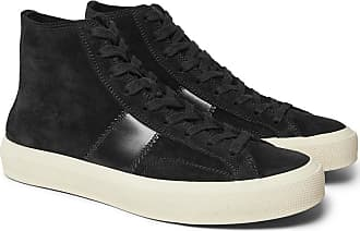 Tom Ford Cambridge Leather-trimmed Suede High-top Sneakers - Black