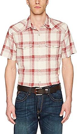 Lucky Brand Mens Short Sleeve Plaid Western Button Down Shirt in Green Multi