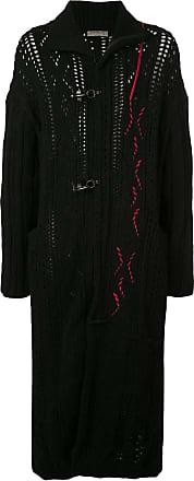 Yohji Yamamoto contrast knit duffle coat - Black