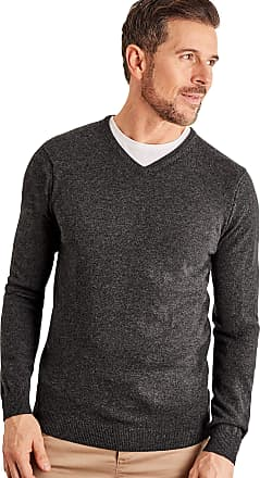 WoolOvers Mens Cashmere and Merino V Neck Jumper Dark Charcoal, L