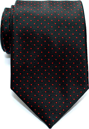 Retreez Pin Dots Woven Microfiber Mens Tie - Black with Red Pin Dots