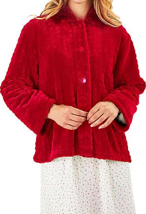Slenderella Ladies 24/61cm Dark Pink 300GSM Soft Thick Velvet Fleece Faux Fur Collared Button Up Bed Jacket XL UK 20/22