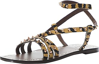 Inuovo Womens Leather Studded Tiger Gladiator Sandals 6 Multi Coloured