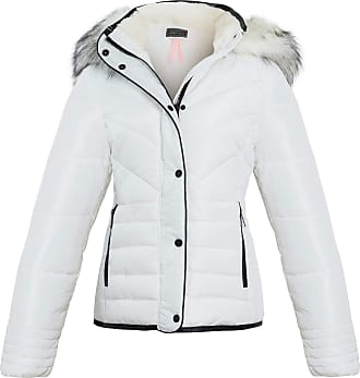 Shelikes Womens Ladies Quilted Padded Winter Warm Fur Parka Jacket [Cream UK 12]