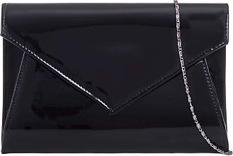 Craze London Womens Classic Vintage Clutch Bags Ladies Envelop Design Wedding Prom Party Clutch Bag,Ladies Evening Patent Clutch Bags (Black)