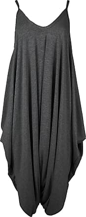 Be Jealous New Womens Ladies Cami Thin Strap Lagenlook Romper Baggy Harem Jumpsuit Playsuit M/L (UK 12/14) Charcoal