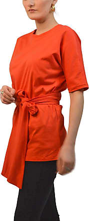White Label M&S Marks and Spencer Short Sleeve Jersey Top Round Neck Tie Sash Waist Work Formal Red