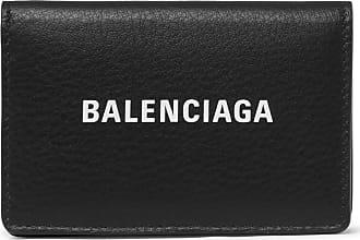 Balenciaga Logo-print Textured-leather Bifold Cardholder - Black