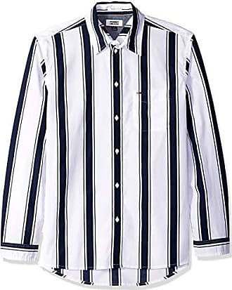 b6f1419b Tommy Hilfiger Tommy Jeans Mens Button Down Shirt Bold Stripe, Classic  White/Black iris