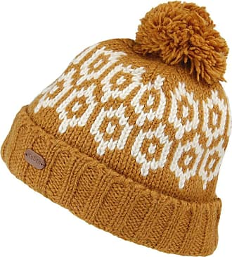 KuSan Patterned Turn Up Bobble Hat - Yellow 1-Size