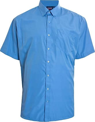 Espionage Mens Big Size Easy Care Short Sleeve Shirt in Mid Blue in 3XL