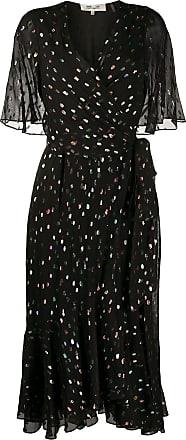 Diane Von Fürstenberg Vestido envelope Berdina metalizado - Preto
