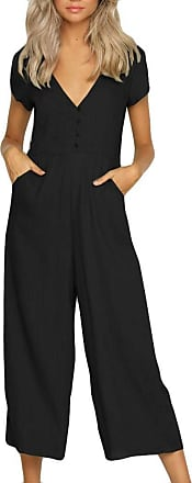 FNKDOR Mid Season Fashion Womens Bussiness Formal Suit V Neck Jumpsuit Summer Short Sleeve Wide Leg Pant Clubwear Playsuit (Black,UK-18/CN-XL)