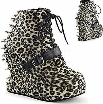 adc468101b06 Demonia Pleaser Bravo-23, Damen Kurzschaft Stiefel, Leopard Print Fabric -  Größe